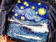 Van Gogh Starry Night with blue wave hand painted denim jacket