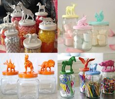 Animals de plàstic per pintar i decorar amb els nens Mason Jar Projects, Mason Jar Crafts, Mason Jars, Plastic Animal Crafts, Plastic Animals, Diy For Kids, Crafts For Kids, Diy Crafts, Big Design