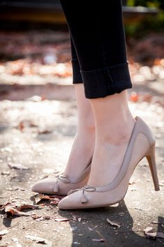 Cute Bow Nude Heels - Stylishlyme