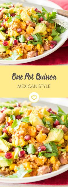 Mexican cuisine can do so much more than just tacos and tortillas. Quinoa, corn and beans turn into a real one pot dish. Mexican cuisine can do so much more than just tacos and tortillas. Quinoa, corn and beans turn into a real one pot dish. Italian Recipes, Mexican Food Recipes, Vegetarian Recipes, Healthy Recipes, Ethnic Recipes, Vegetarian Protein, Healthy Food, Tortillas, Superfood