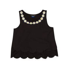 girls black daisy trim vest ($15) ❤ liked on Polyvore featuring tops, shirts, crop tops and tank tops