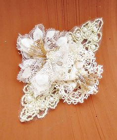 FREE SHIPPING Crochet Bridal Hair Flower  by Simpleboutique1
