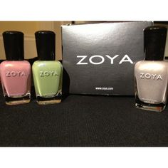 Super excited!! My free #Zoya nail polish arrived. Getting ready for Spring 2014. Colors featured are Charity, Jules and Gemma. www.zoya.com