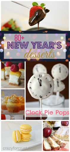 Over 80 Decadent New Year's Eve Desserts ~ Time to celebrate Here are over 80 New Year's Eve Dessert Ideas for your countdown party! New Year's Desserts, Holiday Desserts, Holiday Treats, Holiday Recipes, Delicious Desserts, Dessert Recipes, Nye Recipes, Holiday Parties, Recipies