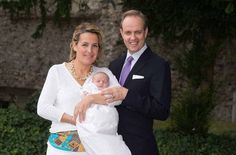 Noblesse et Royautes: The Duke and Duchess of Vendome pose with their third child and youngest daughter Princess Louise-Marguerite, who was born July 30, 2014.