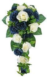 Navy Blue and Ivory Silk Rose Cascade  Silk Bridal Wedding Bouquet