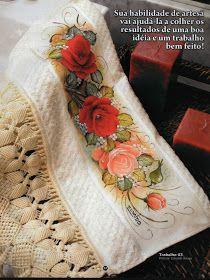 Pintura em Tecido Passo a Passo: Barra pintada com rosas vermelhas