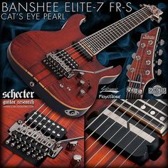 schecterguitarsofficial  BANSHEE ELITE-7 FR S CAT'S EYE PEARL Also available in Gloss Natural