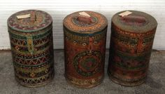 "19th century hand painted iron storage drums. (11.5""x11.5""x18in) Great decorative items - don't know whether they'd be safe to use."