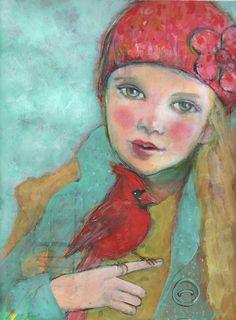 Song 5 « x 7 » beaux-arts Reproduction du cardinal par Maria Pace-Wynters