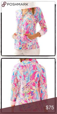 NWT Lilly Pulitzer Popover Sunken Treasure Pink NWT line through tag. Lilly Pulitzer Tops Sweatshirts & Hoodies