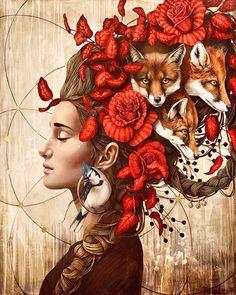 Capteur des reves by Sophie Wilkins Art Inspo, Art Du Collage, Art Fantaisiste, L'art Du Portrait, Arte Indie, Frida Art, Ouvrages D'art, Art Et Illustration, Arte Pop