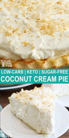 Coconut cream pie is one of the most popular low carb desserts refined sugar free desserts keto sweets desserts low carb sweet desserts sugarfree ketorecipes lowcarbdesserts Desserts Keto, Sugar Free Desserts, Sugar Free Recipes, Keto Snacks, Dessert Recipes, Dinner Recipes, Holiday Desserts, Sugar Free Baking, Coconut Desserts