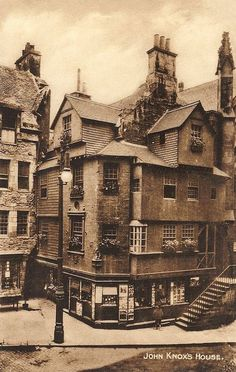 "Edinburghshire, Edinburgh, John Knox's House 1930's. image courtesy of Caroline Fisher  John Knox House, popularly known as ""John Knox's House"", is a historic house in Edinburgh, Scotland, reputed to have been owned and lived in by Protestant reformer John Knox during the 16th century."