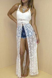 Spaghetti Strap See-Through Lace Sleeveless Dress