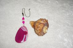Pink and White  Agate Fan Pull  Pink Home by EarthDreamsbySunLi