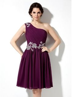 A-Line/Princess One-Shoulder Knee-Length Chiffon Homecoming Dress With Ruffle Beading Appliques (022009063)
