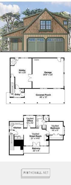 Carriage House Plans CraftsmanStyle Garage Apartment Plan with Garage Design at Garage Apartment Plans, Garage Apartments, Small House Plans, House Floor Plans, Garage Design, House Design, Plan Garage, Garage Doors, Garage Walls