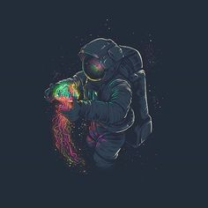 Astronaut and jellyfish