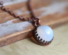 Moonstone Necklace Crown Bezel Set Antiqued by TheTwistedPretzel, $34.00