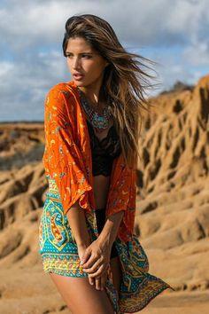"""Boho Kimono """"Kamisha"""" Orange And Turquoise Blue Crescent Moon India Print Sizes Small Medium Or Large"""