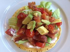 My Brother's Salsa California BLT Tostada - A BLT without all the bread! Fun, crunchy and delicious!