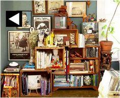 Wine Crate Bookshelf Bohemian Clutter Chic Shelving Bookcase Storage
