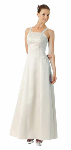 CLEARANCE DRESS - Long White Formal Dress Poly Satin Embroidery (Size 3XL)