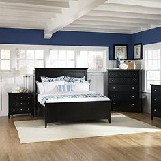 Magnussen Southampton Panel Bed in Black  Queen -- Want additional info? Click on the image.