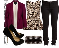 A fashion look from November 2012 featuring leopard print shirt, blazer jacket and jeans. Browse and shop related looks. Fall Outfits, Casual Outfits, Cute Outfits, Amazing Outfits, Blazer Outfits, Jean Outfits, Look Fashion, Womens Fashion, Fashion Trends