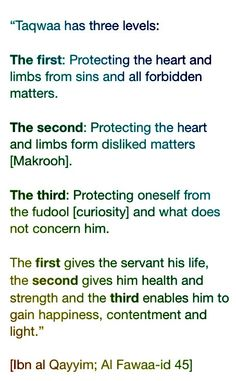 Three levels of Taqwa Islam Hadith, Islam Muslim, Islam Quran, Alhamdulillah, Muslim Quotes, Religious Quotes, Islamic Inspirational Quotes, Islamic Quotes, Religion