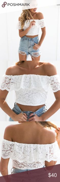 METEORITE Top DETAILSWhite lace crop topOff shoulder styleFrill overlay at bustSlip on wearBand at shoulders for fitCotton /Polyester MODEL INFORMATION Model:Belle Dress Size: 8 (AU)Height:173cmBust:85cmWaist:56cmHips:86cmShoe: Size8 Tops Crop Tops