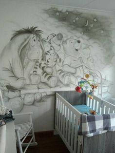 mooie muurschildering voor baby kamer