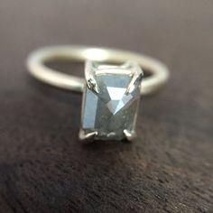 Silvery Gray Natural Emerald Rosecut Diamond Ring Basket Setting 14K Yellow Gold