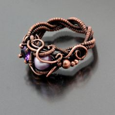Lilac- Copper, Amethyst and Pearl Ring