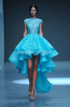 Find More Prom Dresses Information about Michael Cinco 2015 Spring Blue Hi Lo Lace Prom Dresses Crew Neck Cap Sleeves Charming Lace Graduation Dresses formal party gowns,High Quality dress kawaii,China gowns for kids sale Suppliers, Cheap dress yellow from True Love Bridal dress Co., Ltd. on Aliexpress.com