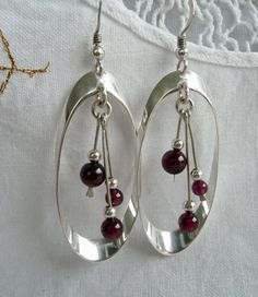 Garnet Earring Handmade Sterling Silver Hoop by SilverStream925, $49.00
