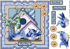 New Home on Craftsuprint designed by Marijke Kok - Gorgeous design with birdies and a birdhouse,so cute... - Now available for download!