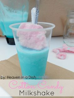 COTTON CANDY MILKSHAKE == 3 scoops of vanilla ice cream, milk, 4 ice cubes, 6 big puffs of cotton candy, *optional* 1 teaspoon Duncan Hines cotton candy frosting flavor packet ========== Frozen Drinks, Frozen Desserts, Frozen Treats, Non Alcoholic Drinks, Fun Drinks, Yummy Drinks, Beverages, Cocktails, Yummy Treats