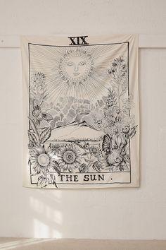 Shop The Sun Tarot Card Tapestry at Urban Outfitters today. Urban Outfitters, The Sun Tarot Card, Star Tarot, Ideias Diy, Afraid Of The Dark, Craft Stick Crafts, Tapestry Wall Hanging, Wall Hangings, My New Room