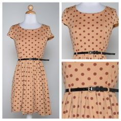 Polka dots dress with belt - $35