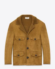 Saint Laurent Paris Classic Caban Jacket in Tobacco Shearling