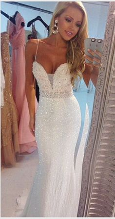 Sexy Mermaid Prom Dresses,Spaghetti Strap Sequins Long Prom Dresses,White Prom Dress ,Mermaid Evening Dresses,White Sequin Prom Gowns,Custom Made Evening Gowns,Party Dress
