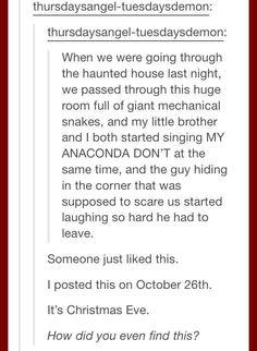 My sister and I did this once. We were in the haunted castle and there's this room of mirrors and black lights and strobe lights and stuff and both of us started singing bohemian rhapsody. Stupid Funny, Funny Cute, The Funny, Hilarious, Funny Stuff, Random Stuff, Funny Things, Tumblr Stories, Funny Stories