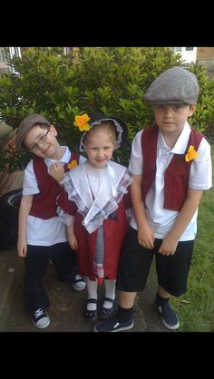 My sons and granddaughter in traditional Welsh costume