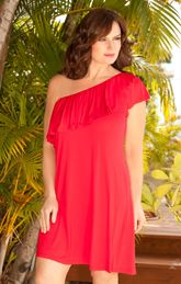 Beach Belle Plus Size Red One Shoulder Ruffle Dress. On sale right now! $27.30!