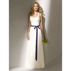 Long Halter Purple and White Destination Bridal Dress