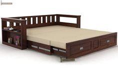Riota Couch Cum Bed With Storage (Walnut Finish)-7