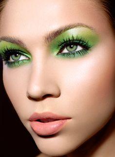 Lime green eye shadow