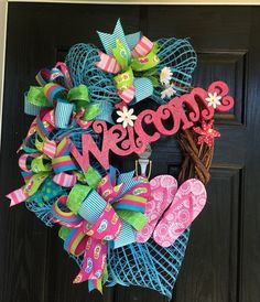 Flip flop wreath, Summer deco mesh wreath, fun in the sun mesh wreath, front door wreath, welcome summer, flipp flop grapevine wreath - pinned by pin4etsy.com